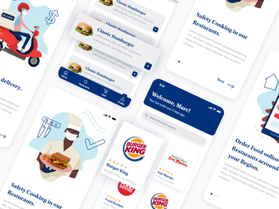 Food Delivery Mobile App for iOS ux ui icon illustration dailyui branding graphicdesign screendesign design concept