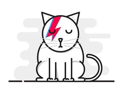 Bowie Cat is Sad... icon lightning sad david bowie bowie illustration cat