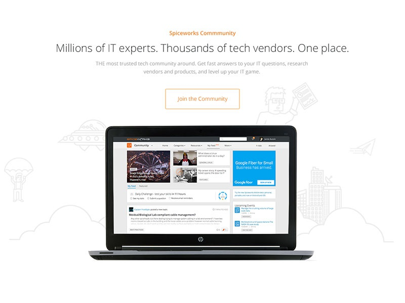 Page Section spaceship it tech laptop technology layout website