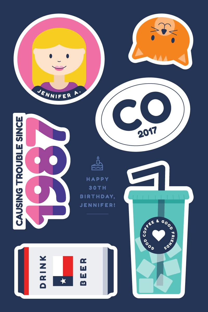 Jenbirthday stickersheet