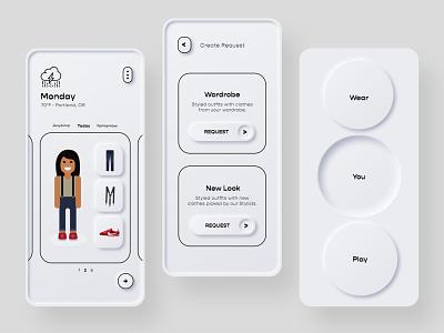 Threadbare 2.0 Product Explorations: Skeuomorphic + flat black design vector illustration illustra mobile product ui