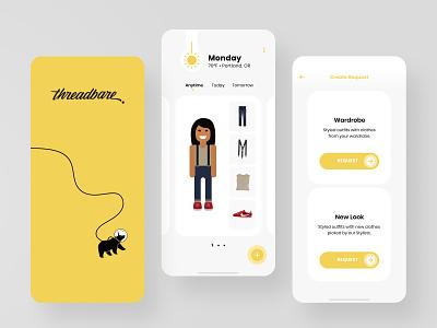Threadbare 2.0 Product Explorations: Yellow design exploration color mobile product product design ui