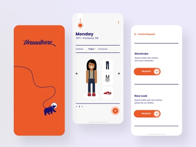 Threadbare 2.0 Product Explorations: Red+Purple color ui type illustration product design mobile product