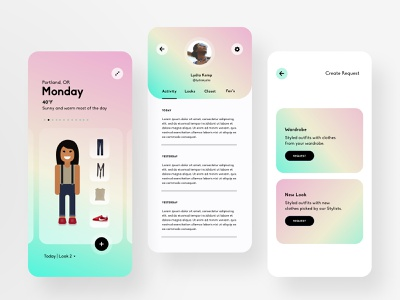 Threadbare 2.0 product explorations: 3 gradients fashion mobile product product design illustration ui design