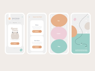 A gamified app to make and receive daily curated playlists. design flat vector branding illustration typography app ui ux