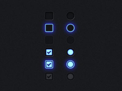 Radio Buttons & Check Boxes the skins factory user interface ui design exopc touchscreen gui user interface design radio button check box blue