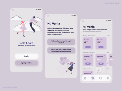 SelfLove: Mental Health Application clean app clean ui simple clean interface simple lavender clean app mental health app mental health mentalhealth mental glass effect glass uidesign uiux ui