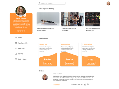 Fitness trainer profile web gympage coaching fitness center website design profile page ui