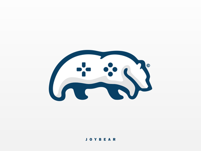 JOYBEAR game design simple logo simple gaming game joystick north northern blue logo blue abstract meaningful unique unique logo branding coreldraw polarbear logodesign logo bear