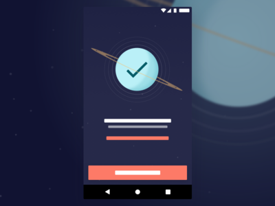 Success Screen illustration sketch uranus rings android ux ui planet saturn space
