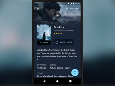 Work in Progress poster hero image detail screen film watch later nolan dunkirk movie app android ux ui
