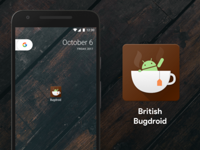 App name TBA illustration cup adaptive tea british icon android bugdroid