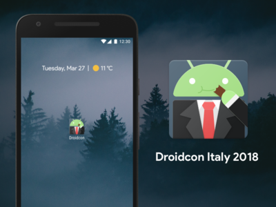 Droidcon Italy 2018 material business chocolate bugdroid illustration adaptive icon android turin italy droidcon