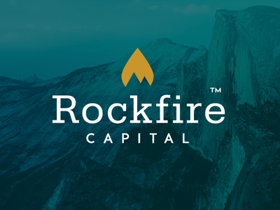 Rockfire logo mountain fire minimal slab rock icon identity logo