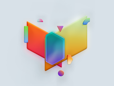 Abstract studies 3d colorful shape shapes illustration abstract
