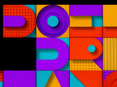 Colorful shapes letters typography illustration 3d colorful shapes