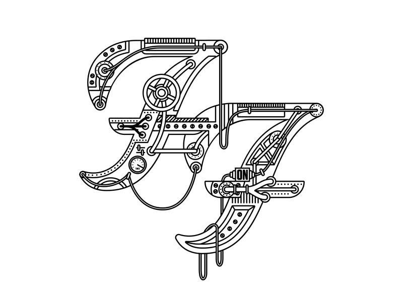 Foo Fighters rock n roll rock band icon steampunk logo lettering foo fighters