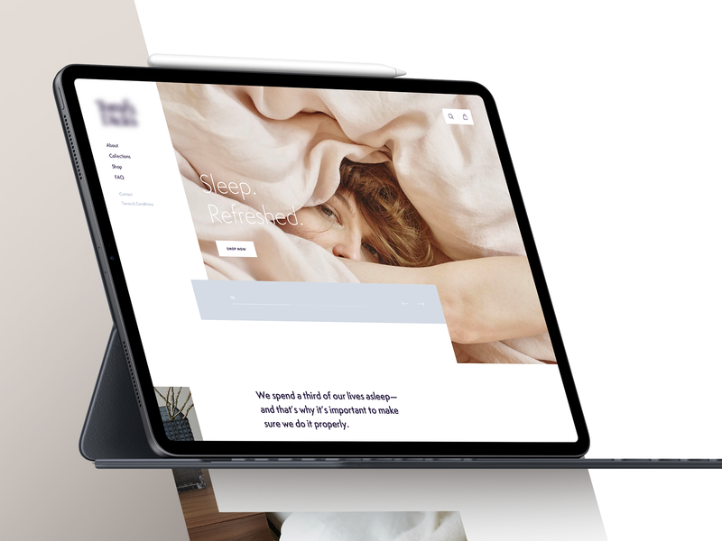 Bedding company website concept sleep relaxed clean webdesign sheet bedding