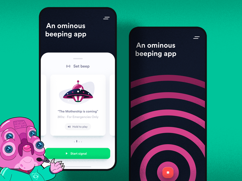 An ominous beeping app grain cute fun funny purple cute creative tv show cartoon mothership spaceship space alien sneak peak app beeping ominous sanchez morty rick and morty rickandmorty glootie