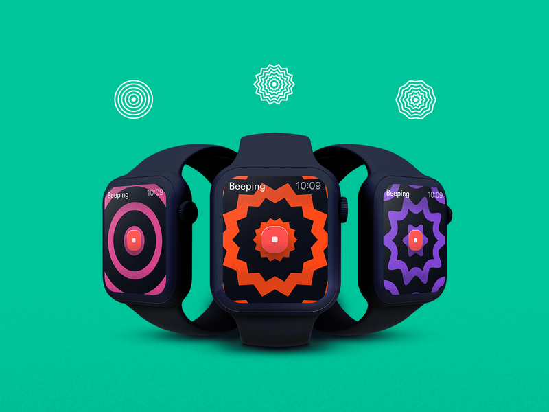 Ominous Beeping App - Beep-styles signal variation green designs rick and morty clean app app design apple watch design apple watch