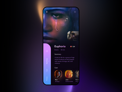 Euphoria app UI Concept dailyui design interface movie purple dark mode blue clean ui design ui product design mobile ui mobile app design concept application app