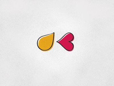 K1 drop paint heart love design logo branding yellow pink vector letter