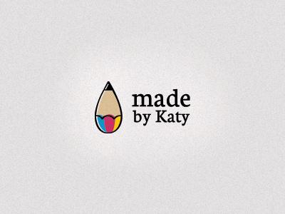 Katy's logo logo design print brand identity paint drop pencil draw art artist blue pink yellow handmade offset