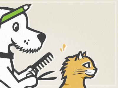 Groomer dog groomer pet spa illustration characters cat animal design pen hair comb scissors branding