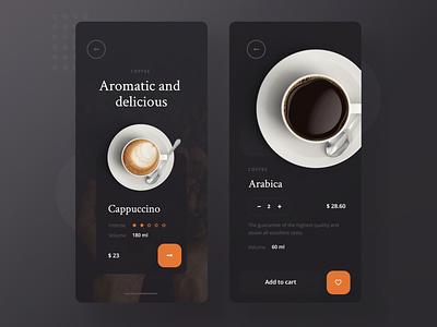 Coffee Mobile App Concept minimalist mobile app design add to cart shop arabica cappuccino mobile ui mobile app app coffee mobile concept ux ui design