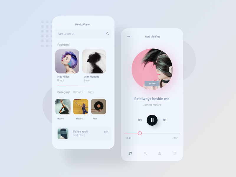 Mobile Music Player - Concept artwork concept design app player music app appdesigner concept minimalist design concept art uiux app ux ui mobile