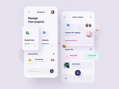 Manage your projects - App concept uidesign google drive dropbox cloud storage concept minimalist design ux website application mobile app design ui app