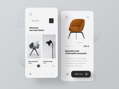 Furniture Gallery App furniture design modern furniture chair lamp gallery app uidesign concept minimalist mobile app design shop furniture mobile app design ux ui mobile