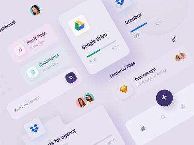 Manage your files - UI KI uikits application appdesign typography concept minimalist app design uiux ux ui mobile app uikit design