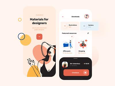 Application for download resources web design flat icon illustration illustrations minimalist app mobile concept ux ui design