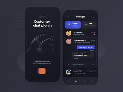 Customer Chat Plugin - App (dark & light) concept illustration dark ui chatbox chat minimalist app light dark mobile design ux ui