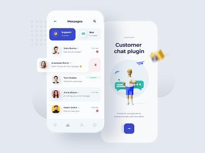 Customer Chat Plugin - App mobile ui messages app chat app chat design chat ui mobile app concept design minimal light design minimalist icons 3d mobiledesign uiux mobile ux ui