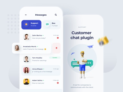 Customer Chat Plugin - App mobile ui messages app chat app chat design chat ui mobile app concept design minimal light design minimalist icons 3d mobiledesign uiux mobile ux ui