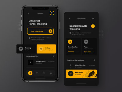 Universal Parcel Tracking - App concept package shipping design mobile design delivery shipment mobile app design tracking ui tracking app parcel app uiuxdesign mobile ui mobile app parcel design app design mobile ux ui minimalist