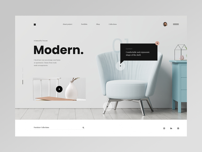 Modern Furniture - Website concept web webdesign web design ux ui minimalist design website homebook chair interior home furniture modern