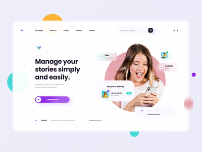 Influencer Social - Landing Page concept landing page meeting friendship dating website concept influencer social webdesign web design concept ux ui minimalist design website design website
