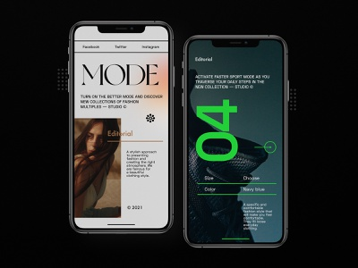 Mode Editorial - Mobile Concept typography concept design mobile app minimalist fashion mobile ui responsive mobileview ux ui app mobile