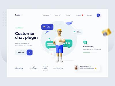 Customer Chat Plugin - Landing Page website concept message conversation chat customer chat landing page illustration webdesign web design ux ui design website design website