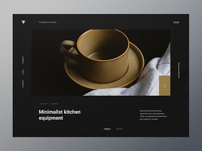 Minimalist kitchen equipment - website concept concept design porcelain photo kitchen minimalist webdesign web design website ux ui
