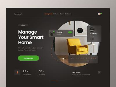 Landing Page for Smart Home App Concept homesmart temperature smart home app concept design homepage home app smart home webdesign web design website ux ui minimalist