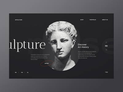 Sculpture - Web concept simple history art sculpture minimalist design webdesign web design concept website ux ui