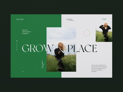 Grow Place - Website concept photo session scenery nature green plant model grid fullscreen article blog website design fashion concept minimalist design web design website ux ui