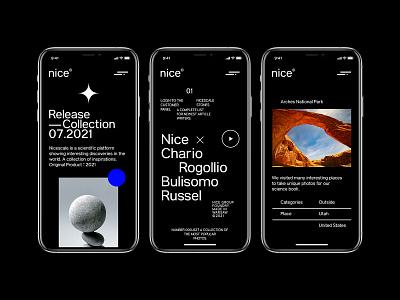 Nice - Science and history design app grotesk serif modern blog dark black mobile web design concept website minimalist ux ui