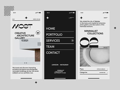 Mobile Architecture Minimalist Layout black white clean minimal webdesign appdesign userinterface appdesigner figma building architecture creative web design concept website ux ui minimalist design