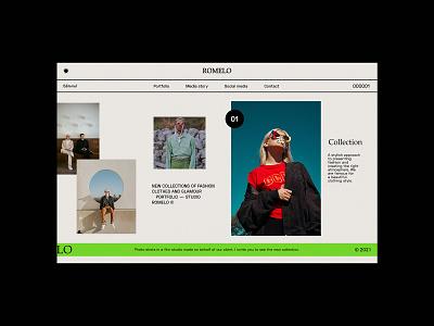 Romelo Editorial - Website concept colour clothes fashion designer website design uiux concept modern glamour grid blog editorial web design minimalist website ux ui design