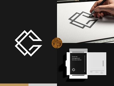 C + C Logo for Commons Capital black and white logotype emblem hand logo designer financial graphic design illustration minimalist branding design logo